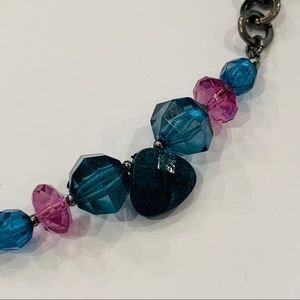 Napier faceted bead king pink blue necklace